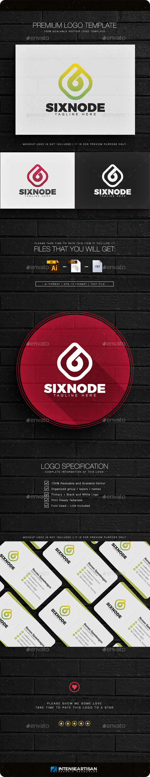 Sixnode Logo - Numbers Logo Templates