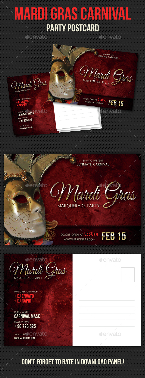 Mardi Gras Carnival Party Event Postcard - Cards & Invites Print Templates