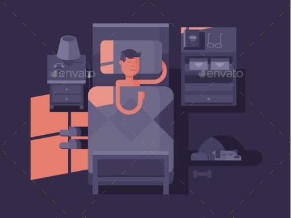 Man Sleeping in Bed - People Characters