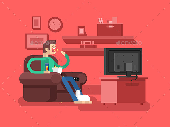 Man Watching TV - People Characters