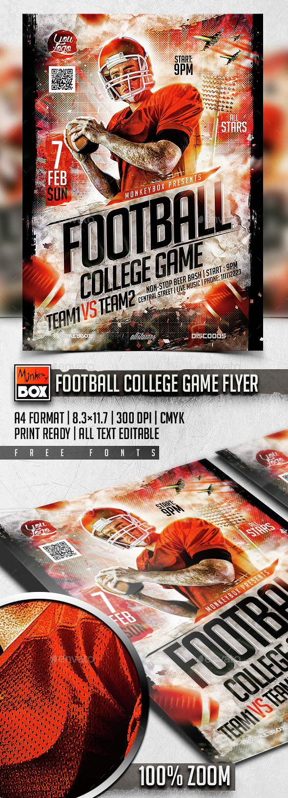 Football College Game Flyer - Flyers Print Templates