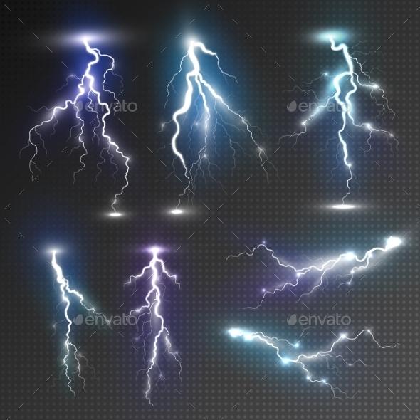 Realistic Lightnings Set - Miscellaneous Vectors