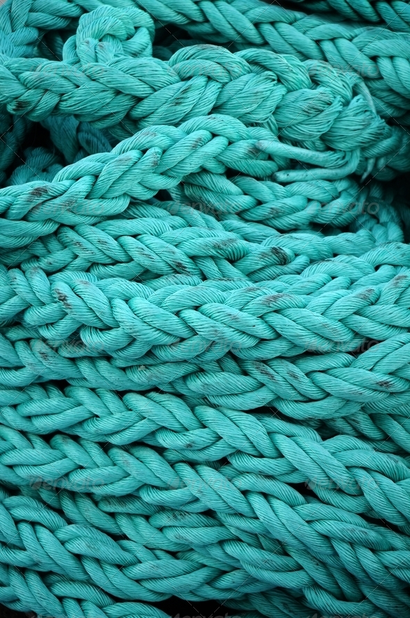 Turquoise rope - Stock Photo - Images