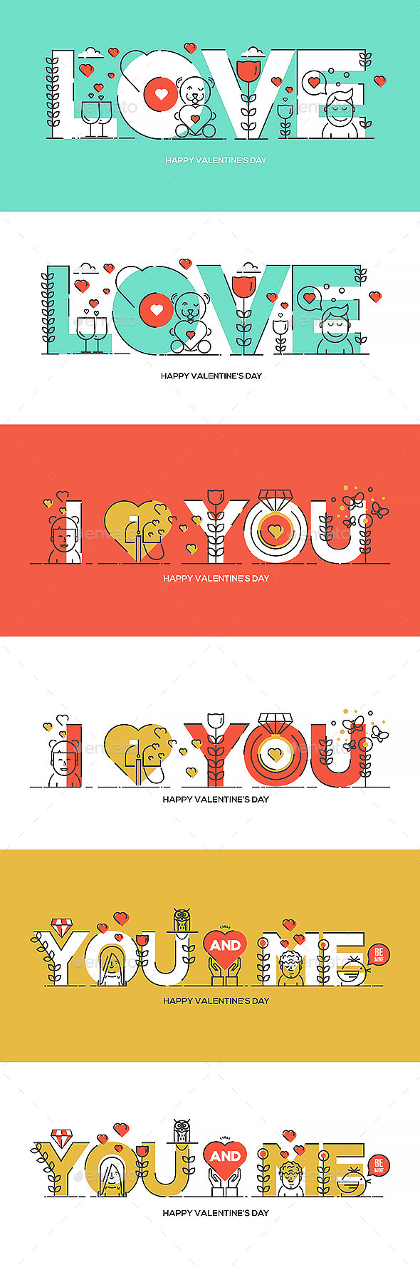 Flat Line Design Valentine's Day Greeting Card - Valentines Seasons/Holidays