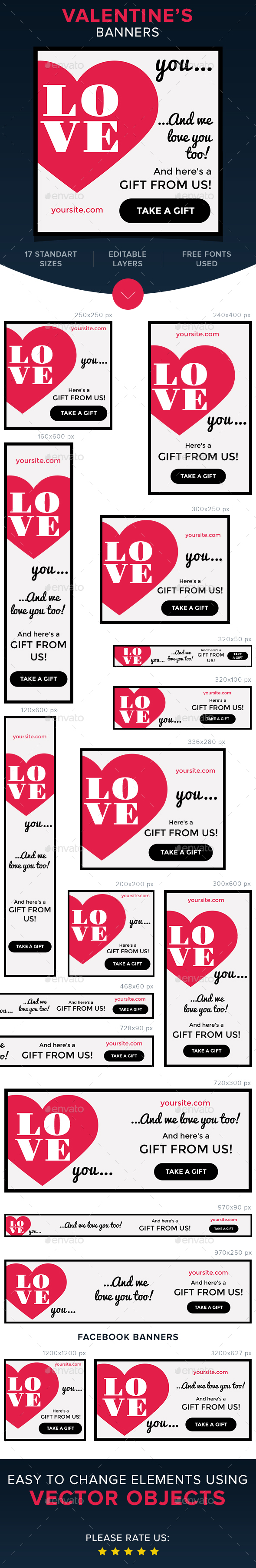 Valentine's Banners - Banners & Ads Web Elements