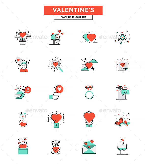 Set of modern Color Line Valentine's Design icons - Icons