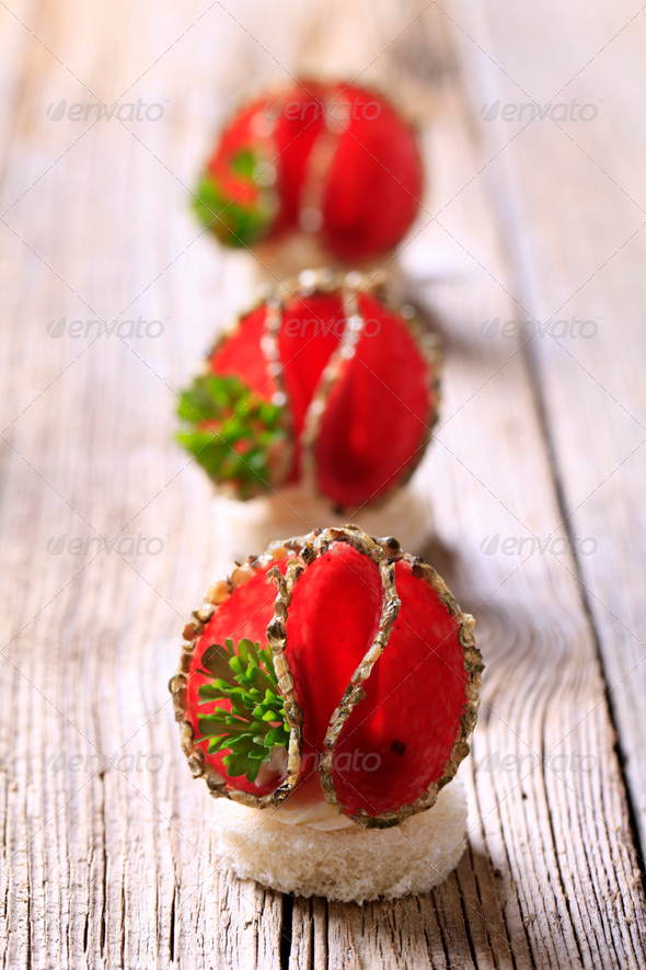 Salami canapes - Stock Photo - Images
