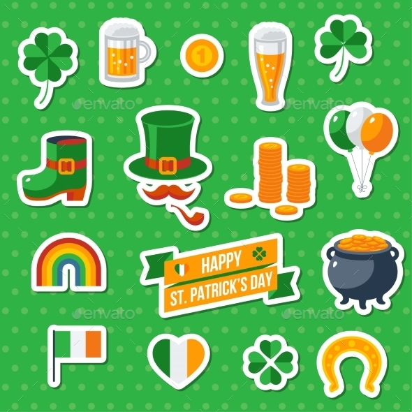 Set of St. Patricks Day Flat Icons - Miscellaneous Seasons/Holidays