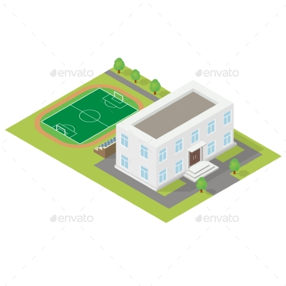 School Isometric Icon  - Miscellaneous Vectors