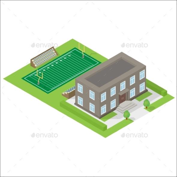 School Isometric Icon  - Miscellaneous Vectors
