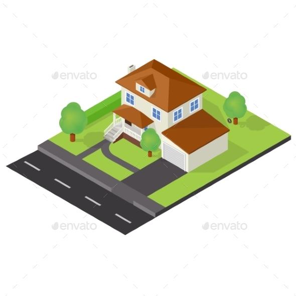 Isometric Cottage Icon - Miscellaneous Vectors