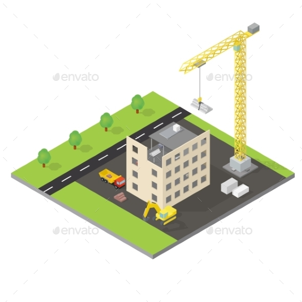 Isometric House Under Construction  - Miscellaneous Vectors