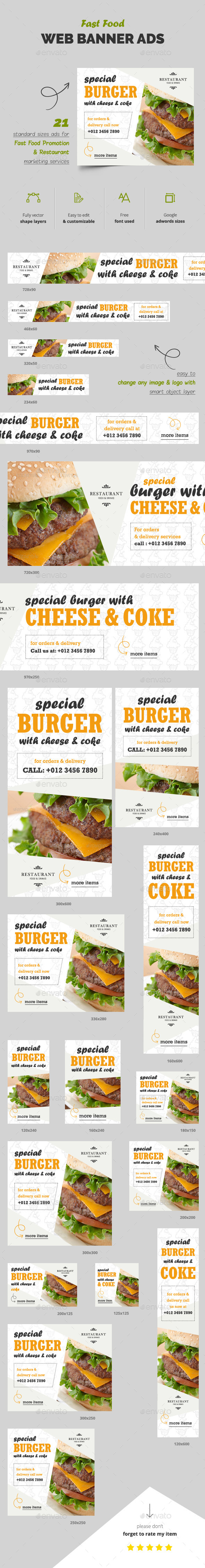 Fast Food Web Banner Ads - Banners & Ads Web Elements