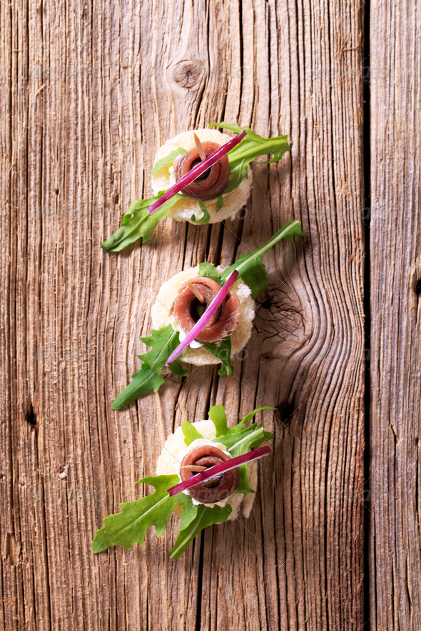 Anchovy canapes - Stock Photo - Images
