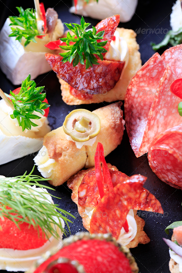 Assorted canapes - Stock Photo - Images