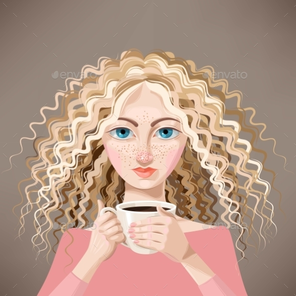 Blonde Girl with Coffee - People Characters