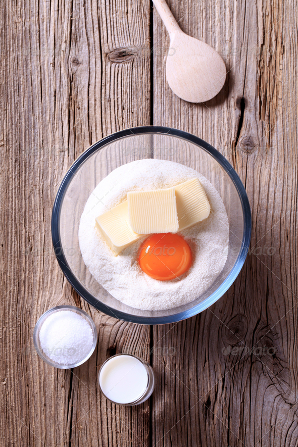 Ingredients to prepare pastry dough - Stock Photo - Images