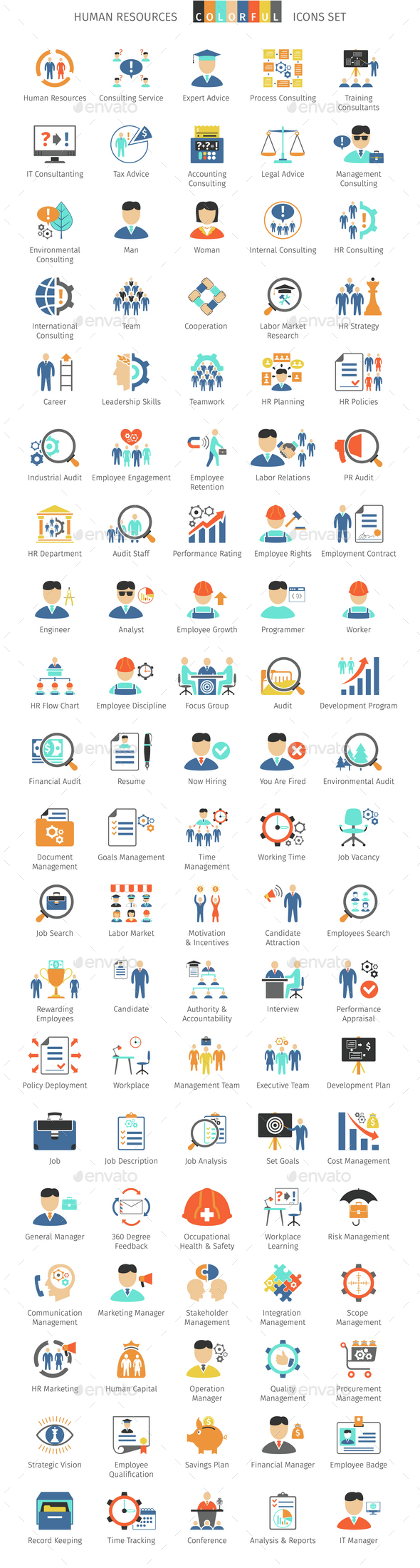 Human Resources Colorful Icons - People Characters