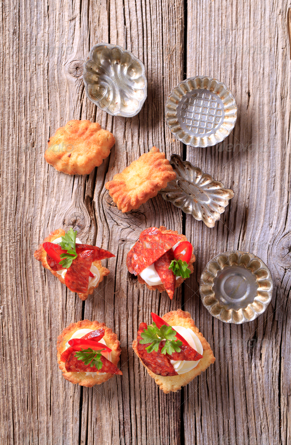 Appetizers and small tartlet tins - Stock Photo - Images