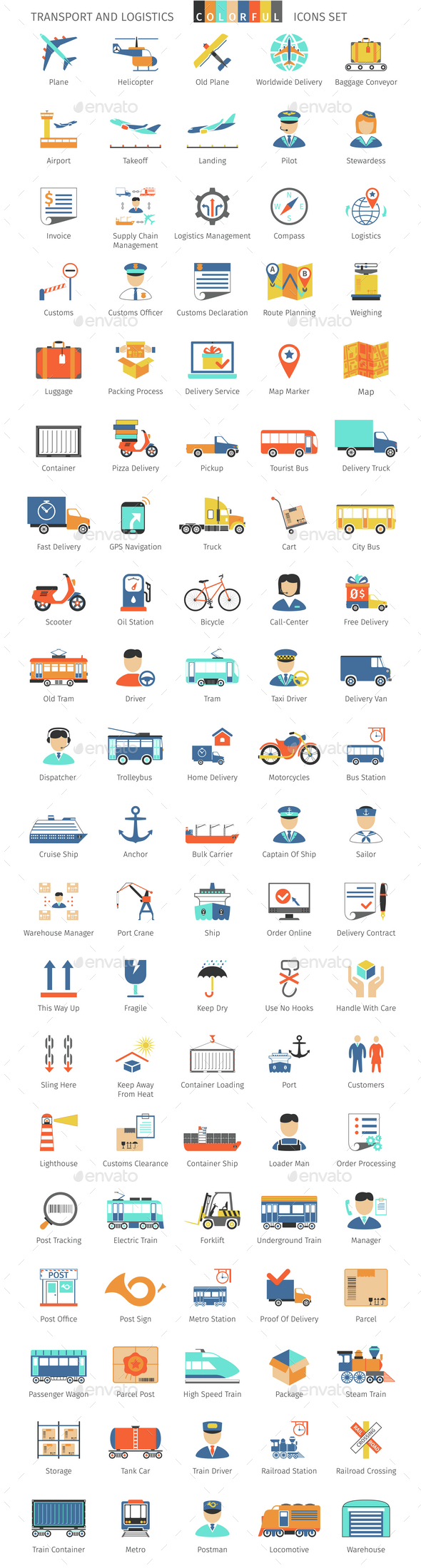 Transport And Logistics Colorful Icons - Business Icons