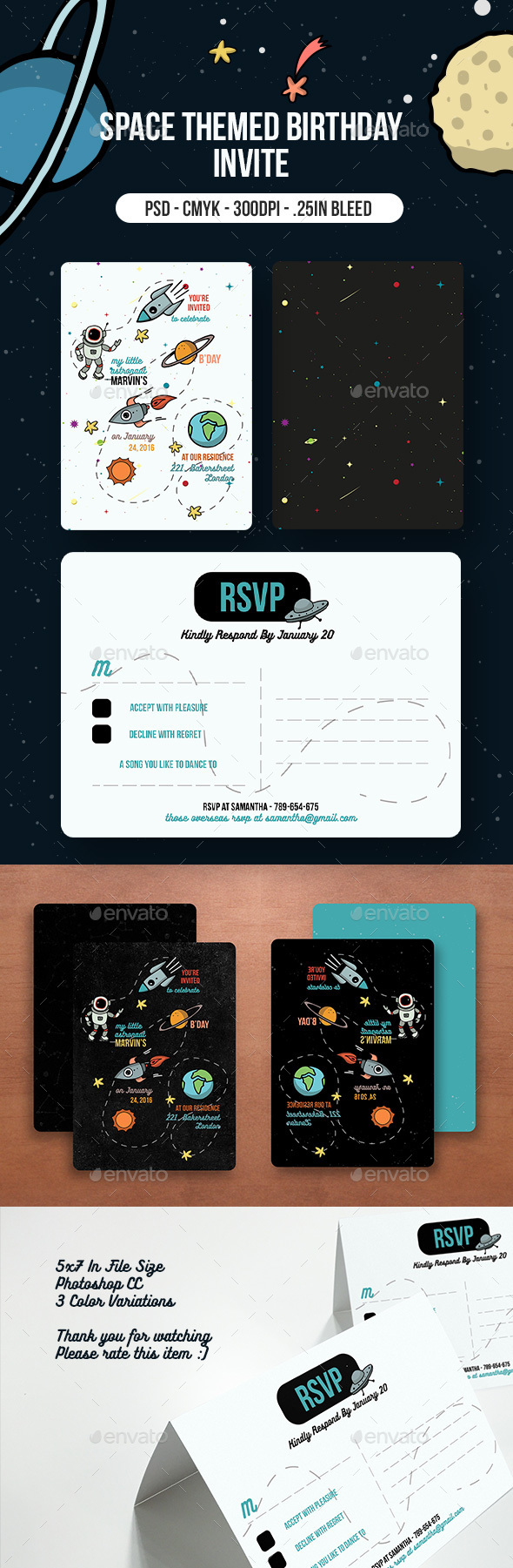 Space Themed Birthday Party Invitation - Birthday Greeting Cards