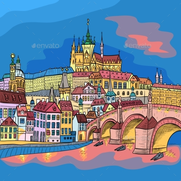 Prague Castle and Charles Bridge - Buildings Objects