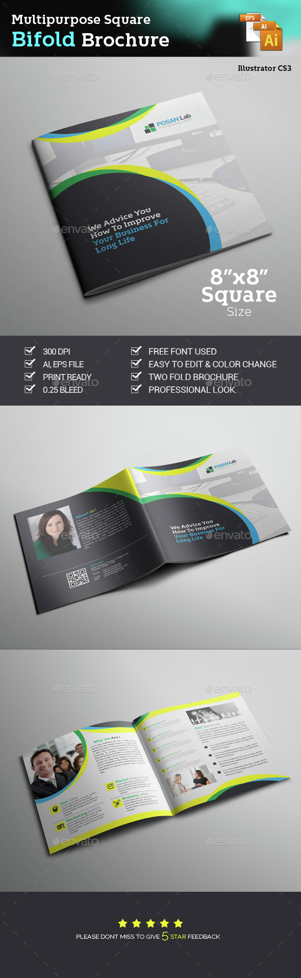 Square Bifold Business Brochure - Brochures Print Templates