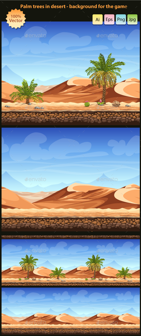 Palm trees in desert - seamless background - Backgrounds Game Assets