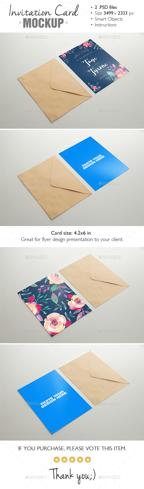 Invitation Card Mockup v.3 - Product Mock-Ups Graphics