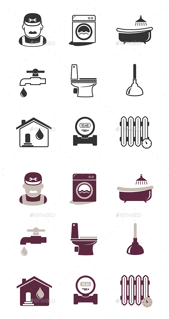Plumbing And Engineering Icons Set - Industries Business