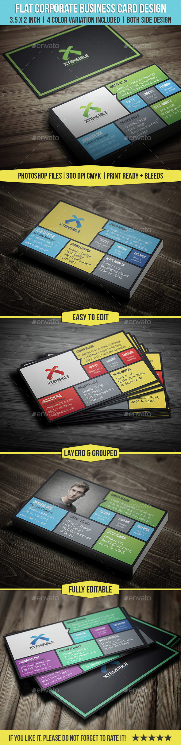 Flat Corporate & Personal Business Card - Business Cards Print Templates