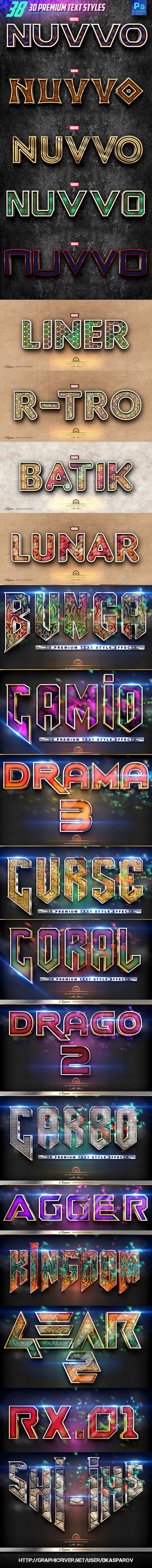 38 3D Premium Text Style Bundle - Text Effects Styles