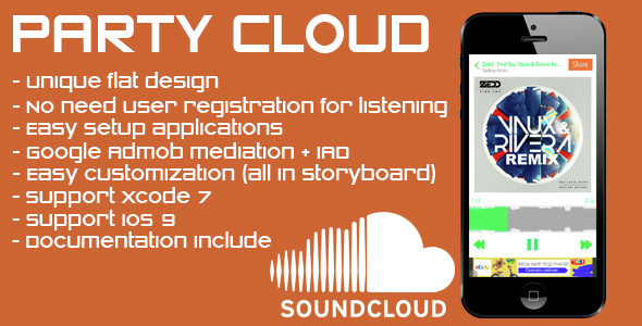 PartyCloud - flat player for Soundcloud - CodeCanyon Item for Sale