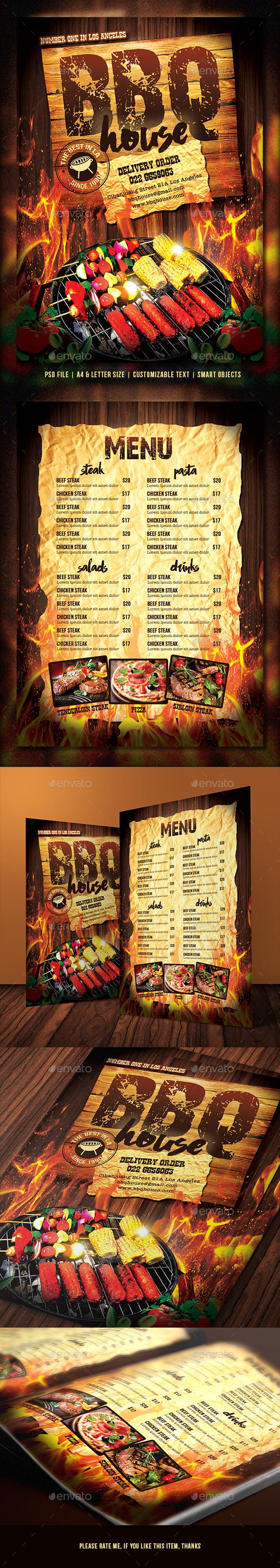 Barbecue / Steak Menu  - Food Menus Print Templates