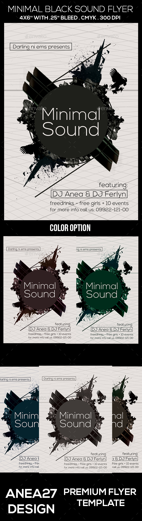 Minimal Black Sound Flyer - Clubs & Parties Events
