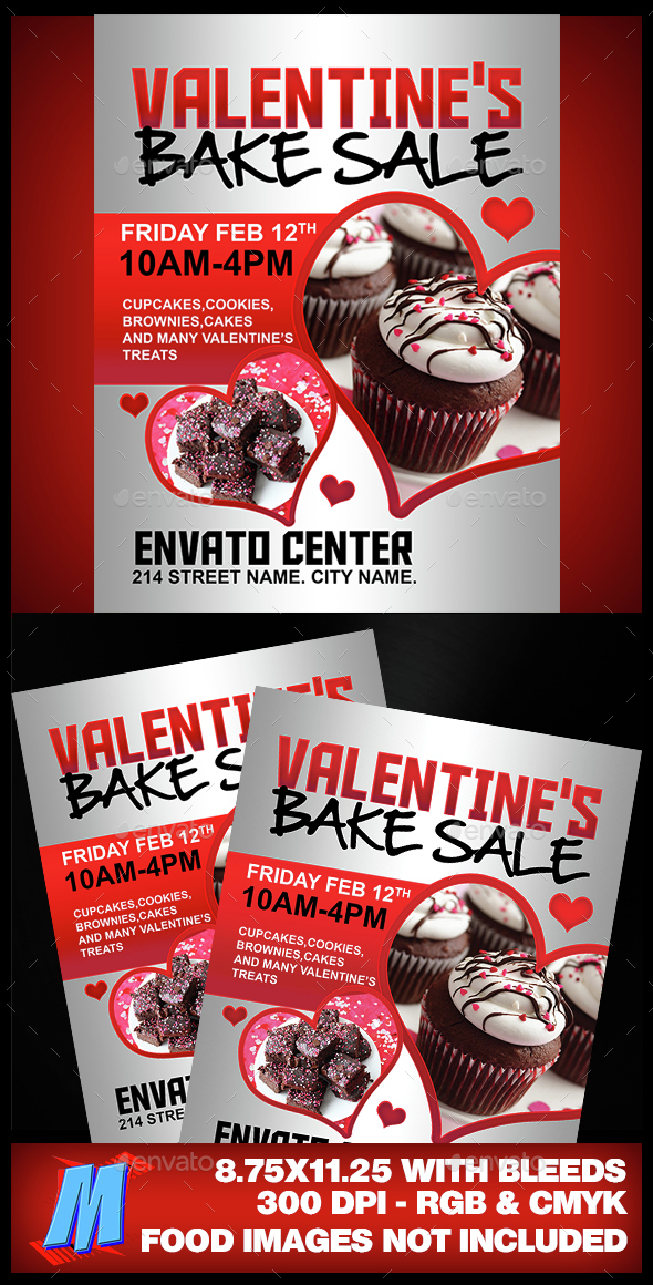 Valentines Bake Sale Flyer Template By Megakidgfx  Graphicriver