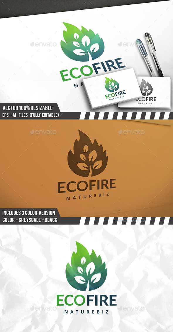 Eco Fire Logo - Nature Logo Templates