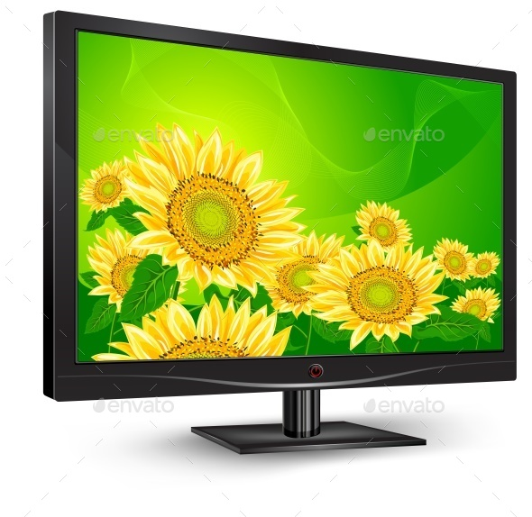Monitor with Sunflowers - Miscellaneous Vectors