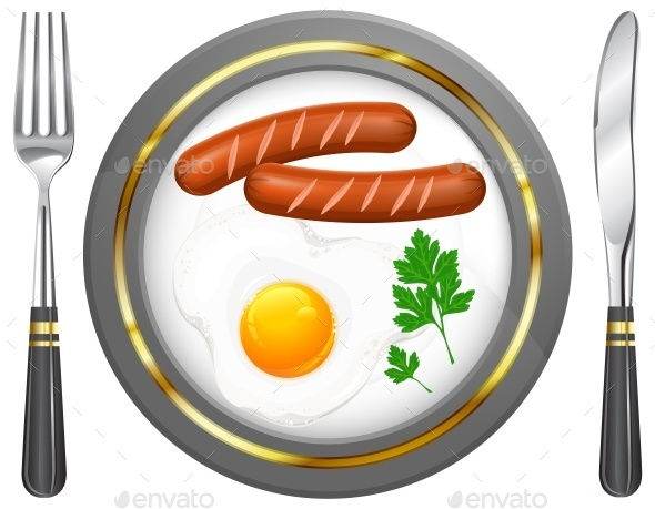 Fried Eggs and Sausage on Plate - Food Objects