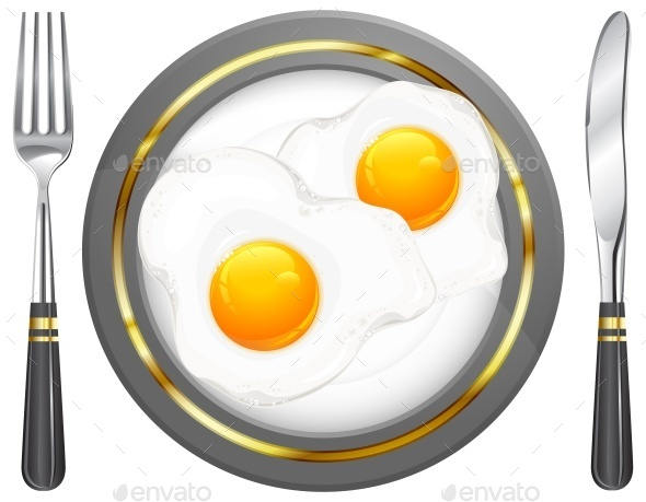 Fried Eggs on Plate - Food Objects