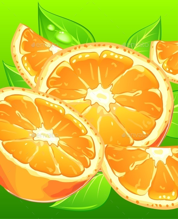 Oranges with Leaves on Green - Animals Characters
