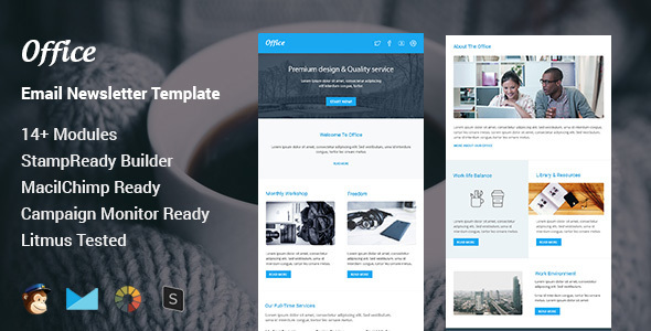 Office – Multipurpose Responsive Email Template + Stamp Ready Builder