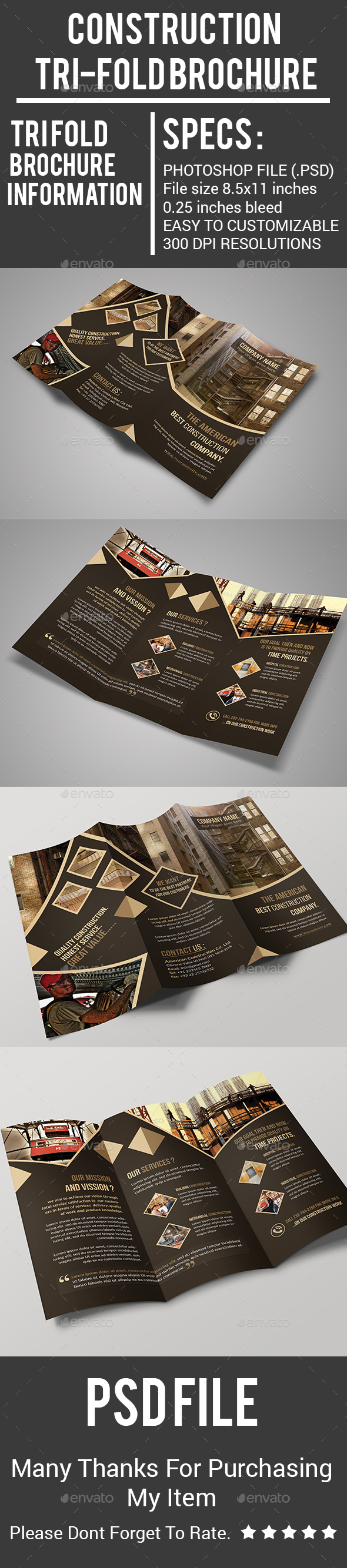 Construction Tri-Fold Brochure - Corporate Brochures