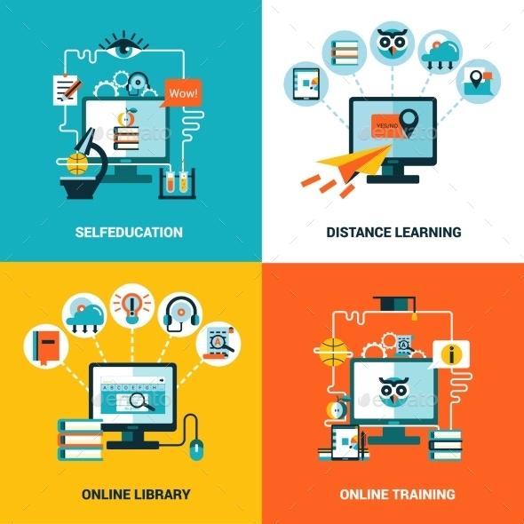 Online Education Design Concept Set - Computers Technology