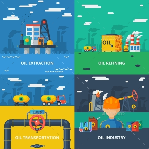 Oil Industry Flat Set - Industries Business