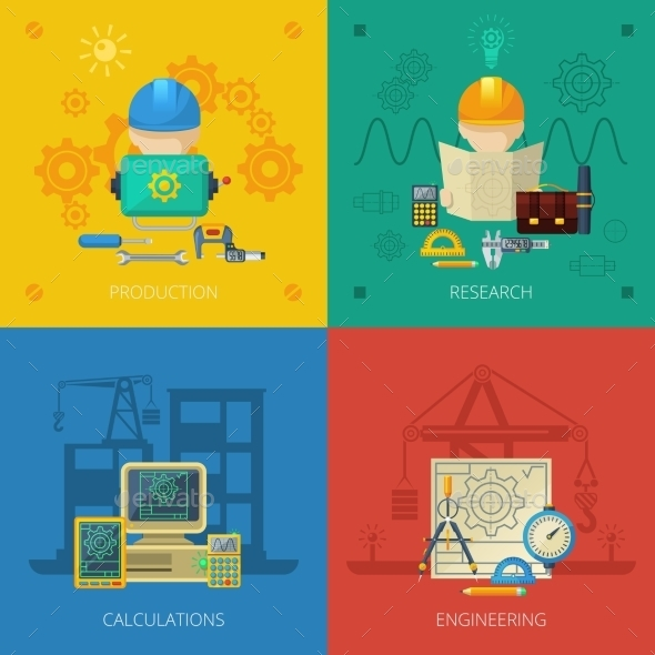 Engineer Flat Icons Composition Square - Miscellaneous Conceptual