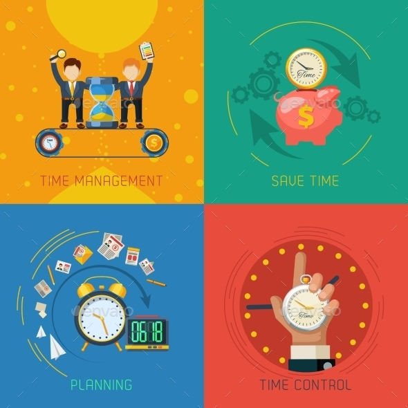 Time Management Flat Icons Square Composition - Concepts Business