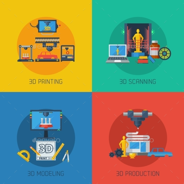 3D Printing Flat Icons Square Composition  - Technology Conceptual