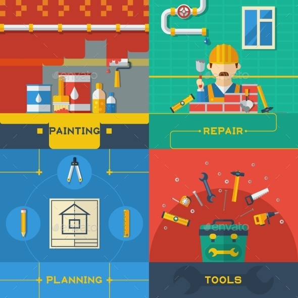 Home Repair 4 Flat Icons Composition - Conceptual Vectors