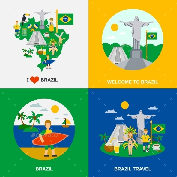 Brazilian Culture 4 Flat Icons Square - Travel Conceptual